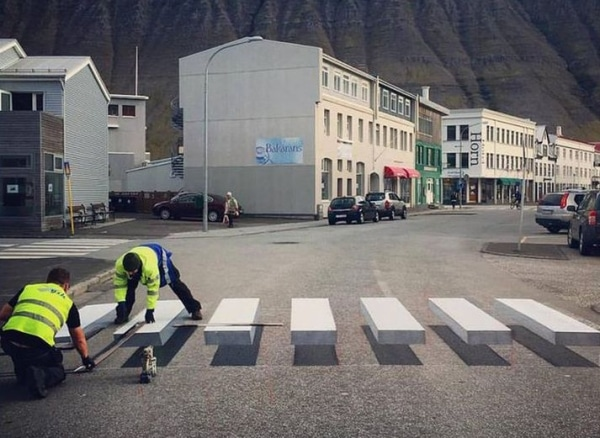 3D Zebra Crossing Painted In An Icelandic Town To Slow Down Speeding Cars